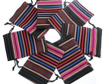 Gift bag ethnic, cotton, rectangle, 10cm x 14cm, set of 2