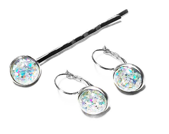 Hypoallergenic Holographic Glitter Earrings Set, Resin Glitter Holo Jewelry, Stainless Steel, Gift for her, Bridesmaids Gift, Birthdays