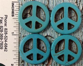"3/4"" Medium Turquoise Peace Beads"