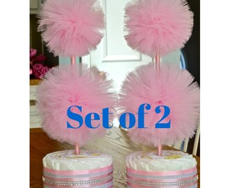 Unique Baby Shower Centerpieces - Diaper Cake Topiary Centerpieces - Tulle Decorations - Baby Girl Shower Decorations - Gender Reveal Party
