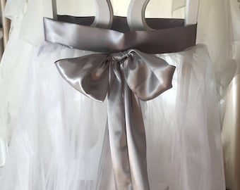 Satin Sash with Tulle Chair Decor