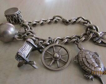 Sterling Silver Charm Bracelet. Western Theme