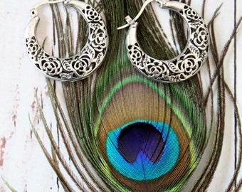 Roses Flower pattern Hollow carved Tibetan silver Hoop earrings Gypsy Ethnic earrings Tribal Free people style Bohemian jewelry by Inali