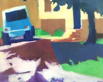 One Good Turn - 14x11 inches original framed acrylic painting of a driveway with a jeep and tree shadows by Maryland artist Barb Mowery