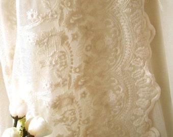 SALE Cream Lace Fabric , Retro Embroidered Lace Fabric, French Lace Fabric, Bridal Lace Fabric, Scalloped Lace