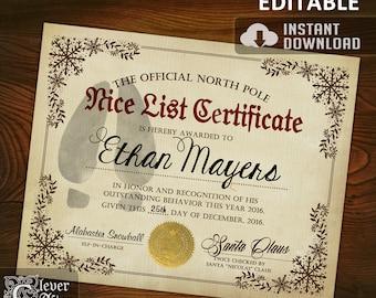 Nice List Certificate Official North Pole editable Nice List Certificate Authentic Santa's Nice List Santa Claus Reward Good behavior award