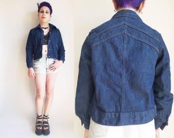 70s Clothing Levi's Denim Jacket Levi's Jean Jacket Vintage Dark Wash Jean Jacket Women's Size Small Med Vintage Jean Jacket 70s Jacket