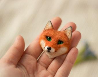 100% handmade red fox brooch Polymer clay jewelry