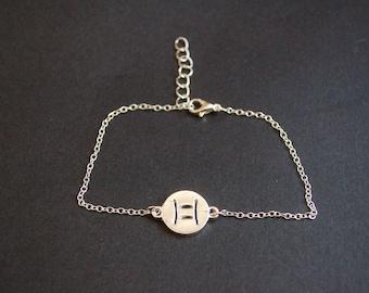 Gemini zodiac symbol bracelet