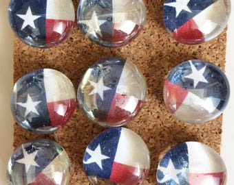 Decorative Glass Marble Pins - Texas Flags
