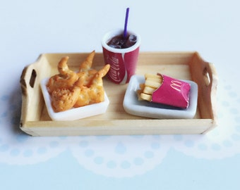 Miniature Coke Cup,French Fries &Chicken,Miniature Coke,Dollhouse Miniature,Miniature Food ,Miniature Chicken,Miniature Wooden Tray