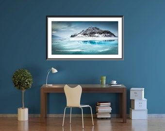 Extra large wall art print - Iceland - Mountain Photography -  - Teal Blue Water - Landscape Photography