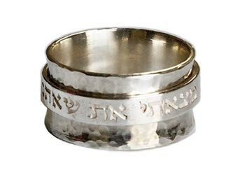 12mm Heavy Duty Sterling Silver Scripture Spinner Ring