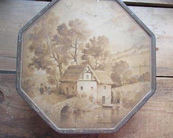 Vintage Tin Box Hexagonal Painted Top NBC National Biscuit Company