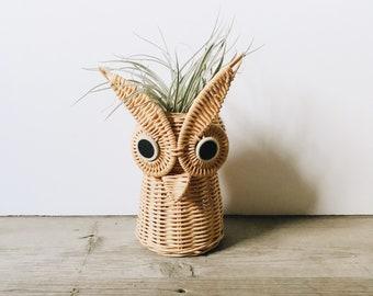 Vintage wicker owl basket