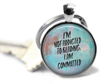 Readers Keychain, Keychain or Pendant, Librarian Gift, Literary Necklace, Literary Gift, English Teacher Gift