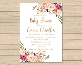 Printable baby shower invitation etsy rose gold floral boho printable baby shower invitation boho floral shower invite rose gold filmwisefo Choice Image