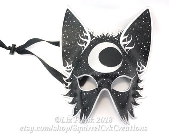 Wolf Mask, Leather, Half Mystic Moon, Fox mask,  Animal mask, Mardi Gras, LARP costume,  Halloween Mask, Cosplay, Fantasy mask