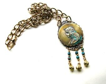 Art Nouveau Style Necklace - Art Nouveau Lady - Bohemian Art Nouveau Necklace - Vintage Style Necklace