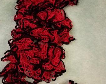 Red & black ruffled scarf