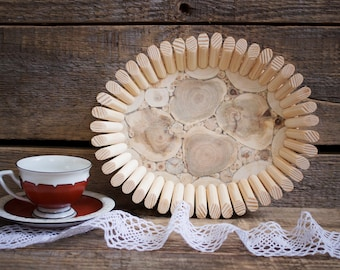 Juniper Wood Platter, Small Natural Handmade Bowl, Oval Wooden Bowl, Wood Tray, Rustic Home Decor, Wooden Kitchen Utensil, Untreated Wood