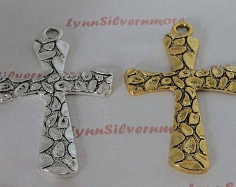 1 pc per pkg - 80x56 mm Xtra Large Cross Pendant  Antique Gold  or Silver Finish Lead Free Pewter