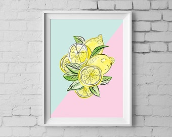 Lemon Art Print, 11x14 inches Lemon Illustration Wall Art, Pink & Mint, Lemon Kitchen art, Nursery wall art, Digital Instant Download #192