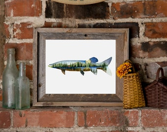 Muskie Watercolor Print with Northern Illustration
