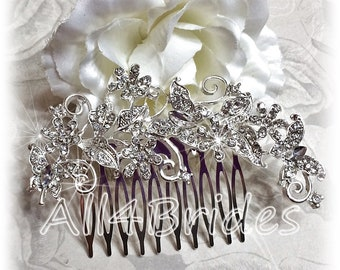 Wedding hair comb, bridal rhinestone crystal hair comb, butterfly hair comb.
