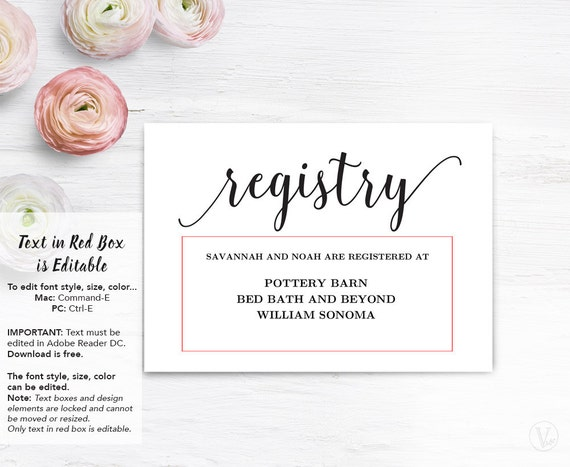 Wedding registry card templates free fieldstation wedding junglespirit Gallery