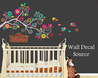 Nursery Wall Decal - Colorful Branch Decal - Monogram Wall Decal