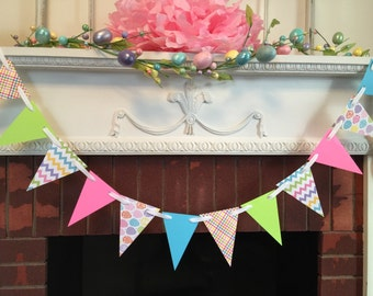 Great Easter Decoration   Easter Garland  Spring Decor  Happy Easter Banner   Chevron Garland  Design Ideas
