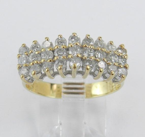 14K Yellow Gold Diamond Anniversary Ring Wedding Band Size 7.75 Three Row