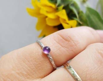 Amethyst Ring Dainty Amethyst Ring Small Stack Ring Amethyst Stack Ring Silver Amethyst Ring February Birthstone Ring Purple Gemstone Ring