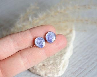 Wood stud earrings, hand painted earrings, purple post earrings, wood tree jewelry, little handmade studs, sterling silver earring stud