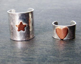 Heart Ear Cuff, Star Ear Cuff, Handcrafted from Recycled Sterling Silver and Recycled Copper