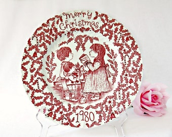 1980 Vintage Christmas Plate by Norma Sherman - Royal Crownford Staffordshire China Collectible - Mother Gift