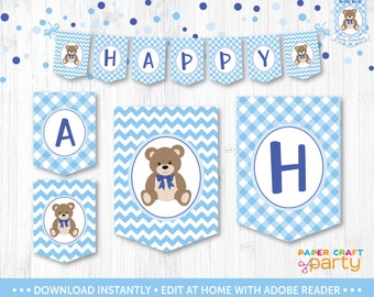 Teddy Bear Picnic Banner - Printable Teddy Bear Party Banner - Happy Birthday Banner - Instant Download & Edit and Adobe Reader TB10