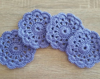 Crochet coaster, flower coaster, lilac, set of 4