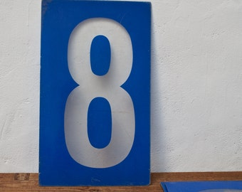 Vintage Gas Station Number 8 Sign - Plastic Blue Number 8 Vintage Sign Number Eight Kiosk Large Number