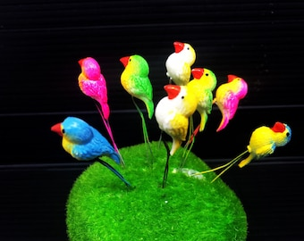 Set 5 pcs. Terrarium Mini Mixed color Parrots Stake Miniature Dollhouse Fairy Garden accessories