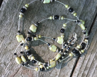 Lime Green Baroque Fresh Water Pearls With Black Onyx Gemstones on Silver 42 inches Long Necklace