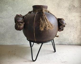 Mexican Pottery Tarahumara Indian Water Jug Pot with Cups Primitive Decor, Southwestern Decor