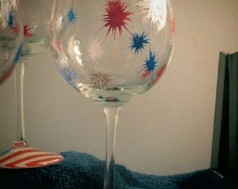 Hand Painted Patriotic Fireworks Wine Glasses(Set of 4)