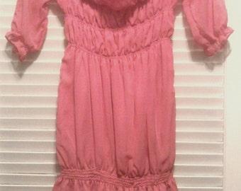 Chiffon Ruched Coral Pink Gyaru dress