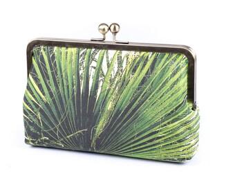 Green Silk portemonnee Palm Leaves Bag, Silk koppeling, perfecte tas voor zomer evenement, tropische bruiloft, boho of bos bruiloft, cadeau voor vriendin