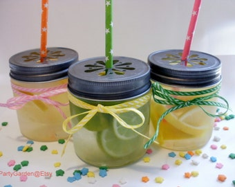 SALE 20% - 12 Mini Plastic Mason 8 oz Jars with Daisy Cut Lid - Unbreakable Drinking Jar Parties