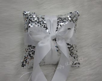 Large Silver Sequins Wedding Ring Bearer Pillow, 8 x 8 Wedding ring pillow, READY TO SHIP