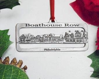 Boathouse Row Fine Pewter Christmas Ornament Philadelphia