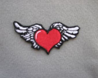 Heart With Wings Tattoo Style Junk Gypsy Rebel Rock Girl Iron on No Sew Embroidered Patch Applique